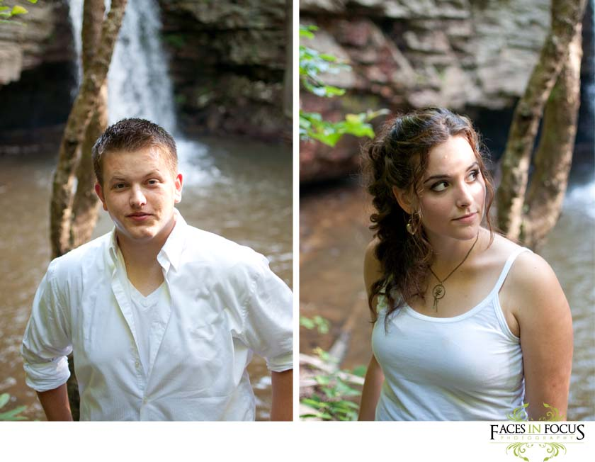 Future bride and groom to be pose by waterfall.