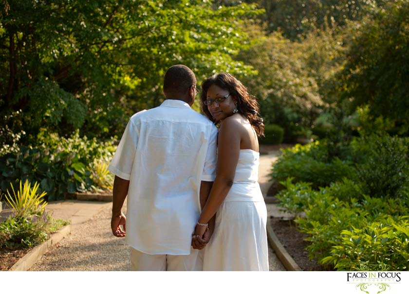 Newlyweds in Durham at Sarah P. Duke Gardens