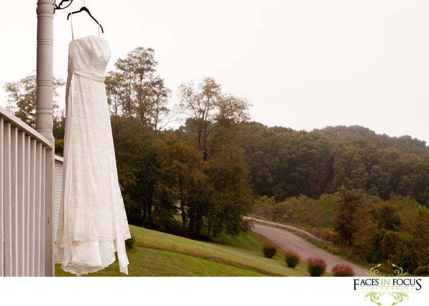 David's Bridal gown hanging in the Virginia Mountains.