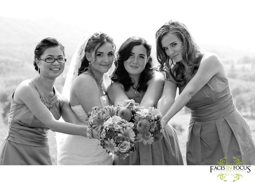 Gorgeous bride with her bridesmaids by Burlington Wedding Photographer.