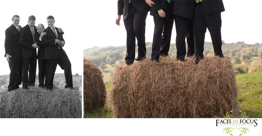 Stu and his groomsmen play on top of hay bales.