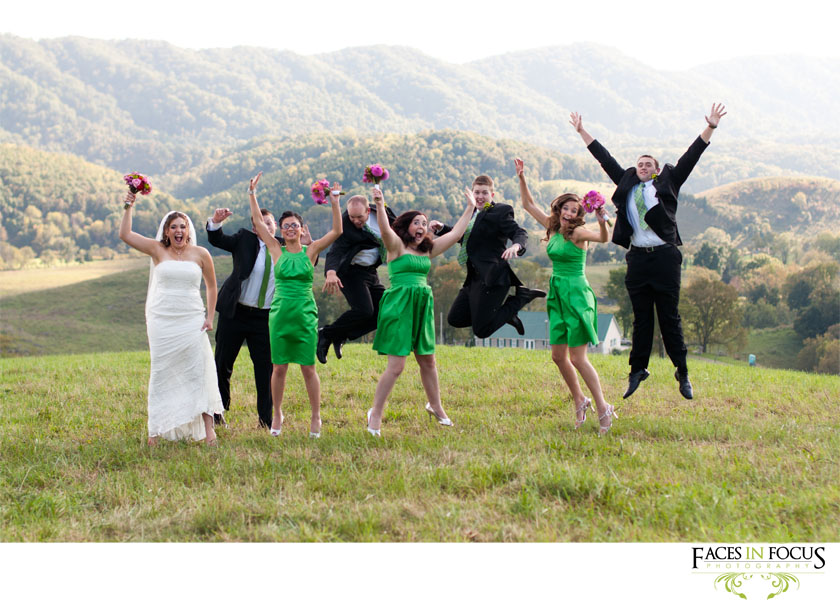 Bridal party jump in the air.