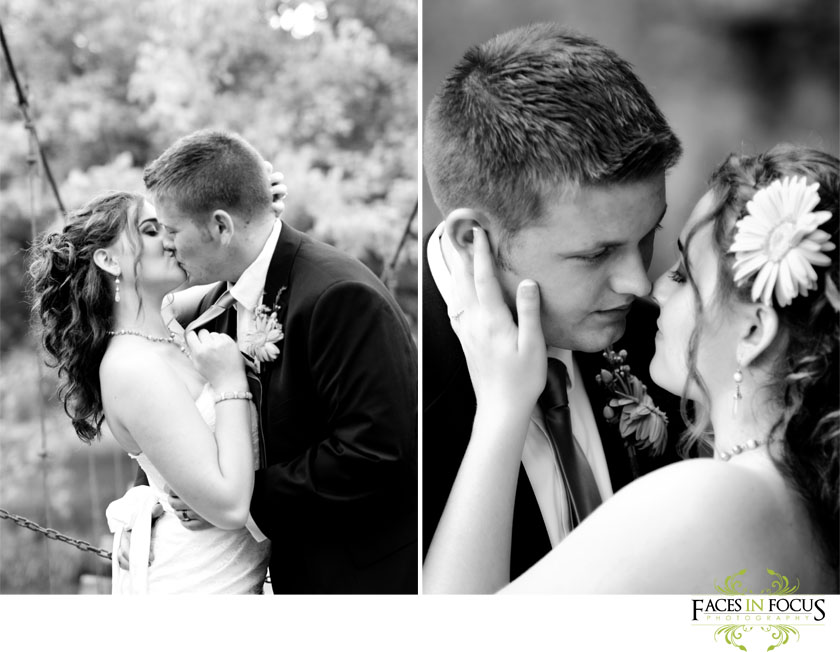 Bride & Groom kiss by Burlington NC Wedding Photographer.