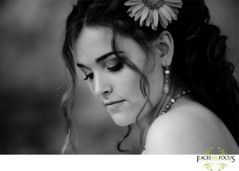 Black and white photo of bride.