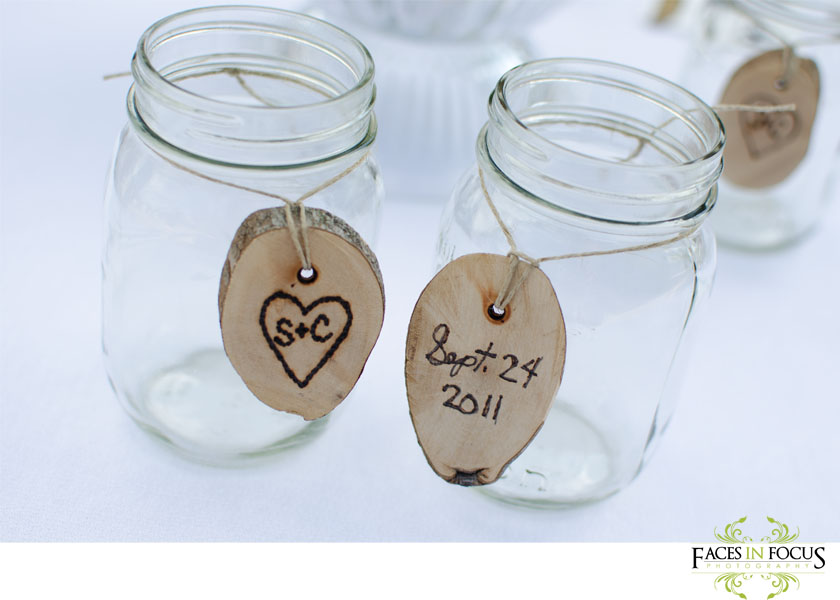Mason jars as wedding favors.