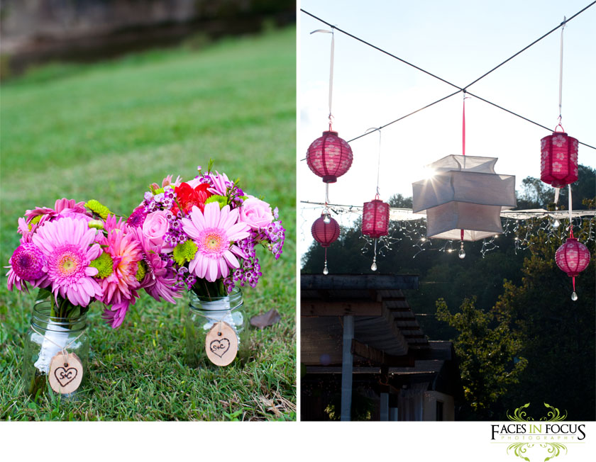 Pink Chinese lanterns by Burlington, NC Wedding Photographer.