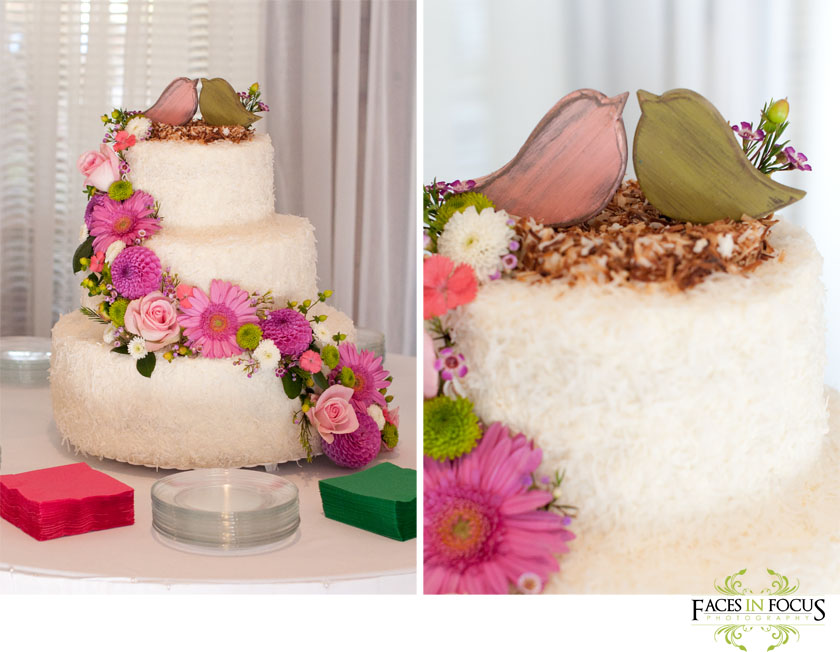 Stunning coconut cake with birds nest topper.