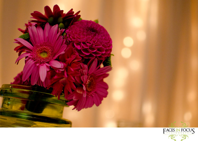 Pink gerber daisy bouquet with twinkle lights behind drapes.
