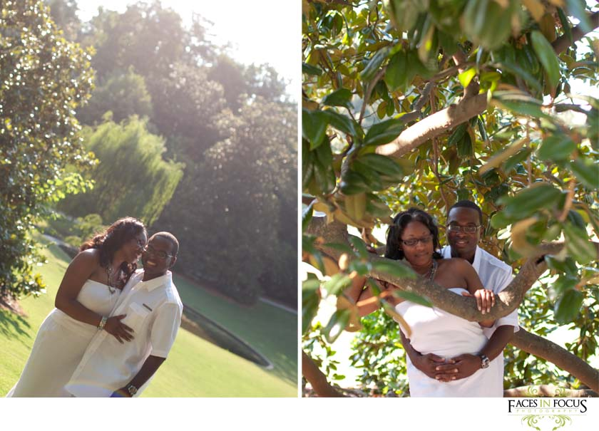 Elissa & Anthony surrounded by magnolia tree and pond at Duke Gardens.