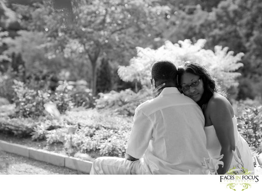 Couples pose at Sarah P. Duke Gardens in Durham.