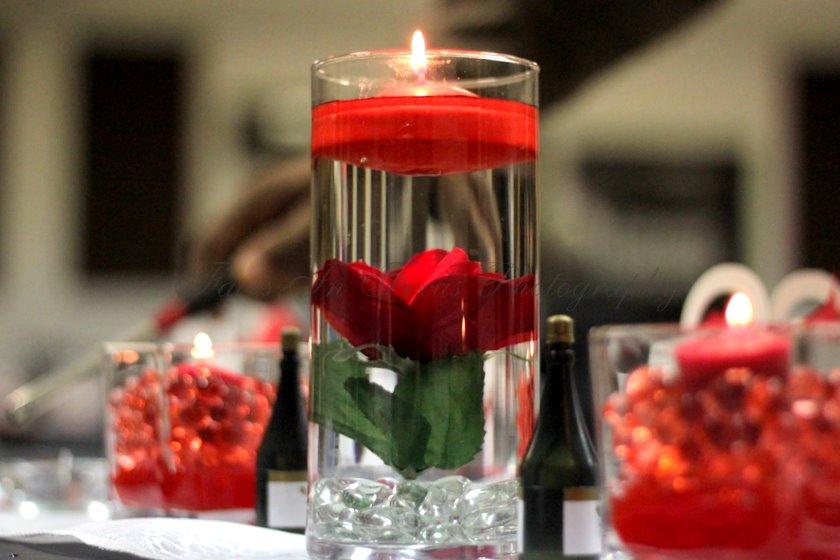 Red silk flowers - Burlington NC Wedding Photographer