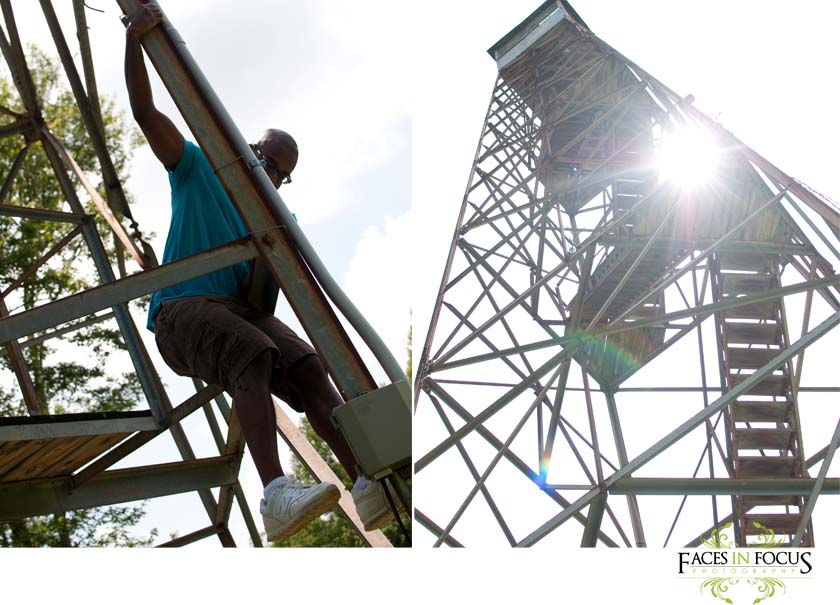 Brian climbs down from the fire tower.