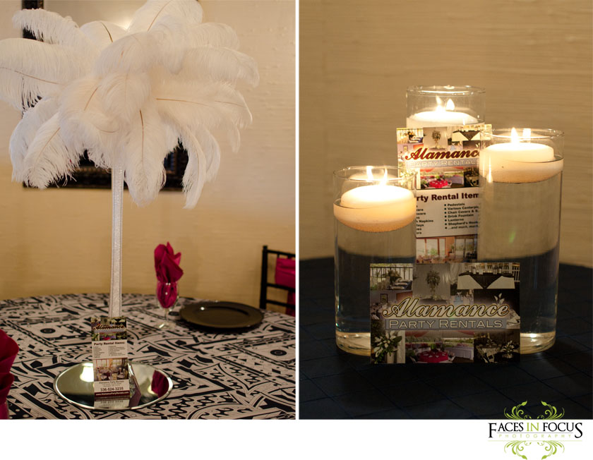 The feather centerpiece stands out against the black and white print.