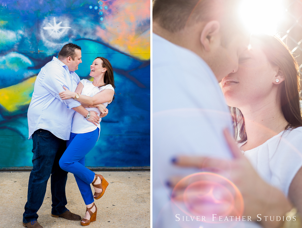 engagement session in raleigh warehouse district by silver feather studios, burlington nc wedding photography.