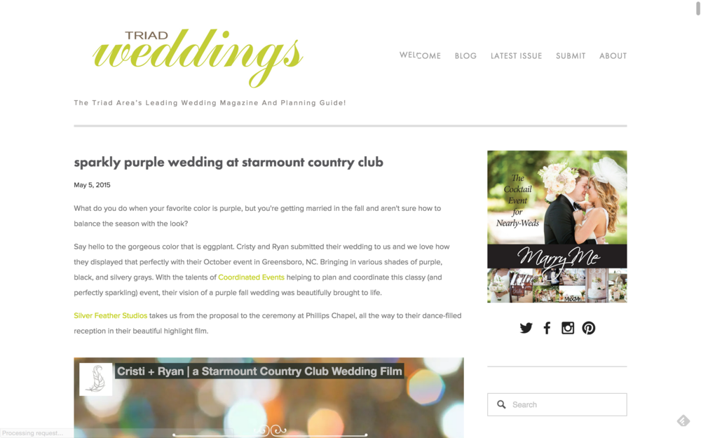 starmount country club wedding videography by silver feather studios in greensboro, NC