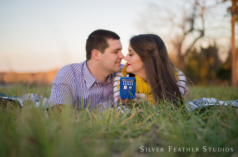 Doctor Who prop at this geeky engagement session by geeky wedding photographer in Burlington, NC, Silver Feather Studios