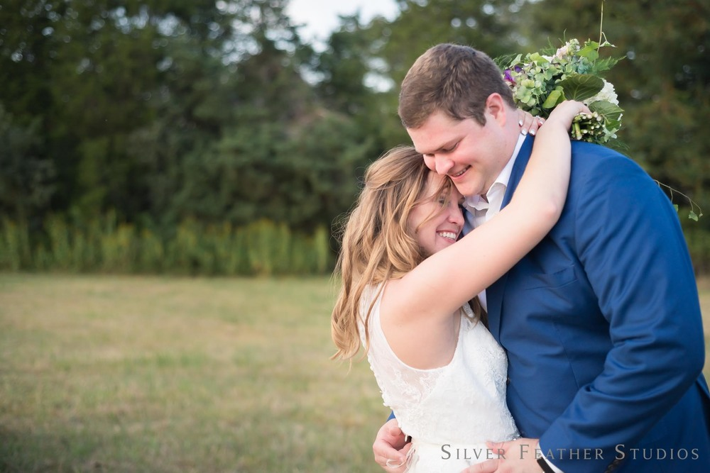 david and erin at their wedding at Seven Cedars Farm. Photography by Burlington North Carolina wedding photographer, Silver Feather Studios