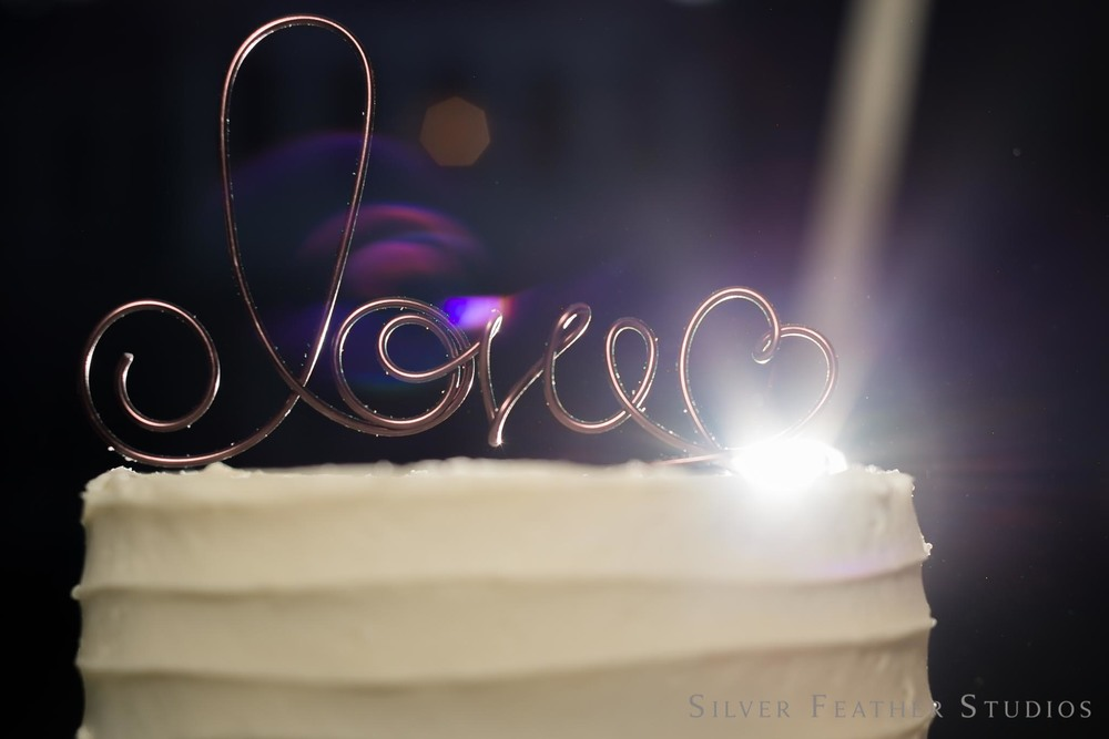 Beautiful cake with white frosting and wire love cake topper. © Silver Feather Studios, North Carolina wedding photographer.