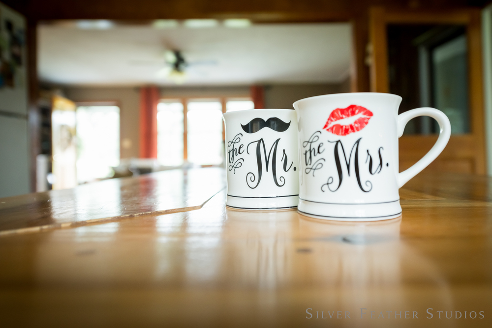 matching mr. and mrs. mugs | jordan + heather © silver feather studios | wedding photographer in greensboro, nc.
