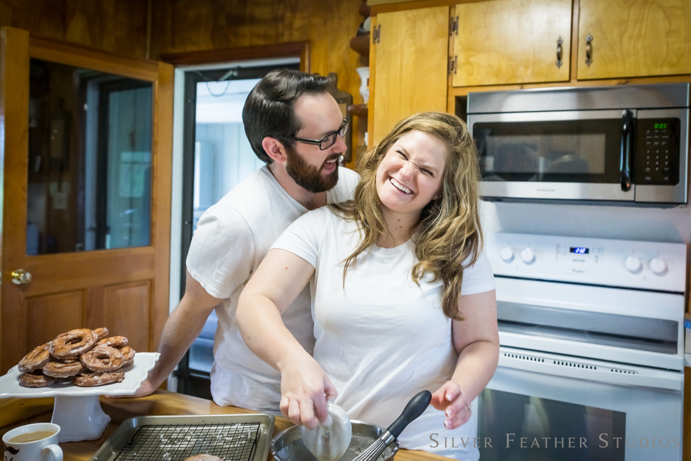 laughter, giggles, and donuts | home lifestyle session © silver feather studios | wedding photography in burlington
