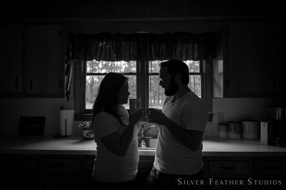 black and white image, drinking coffee at home. © silver feather studios | burlingto nc lifestyle photographer