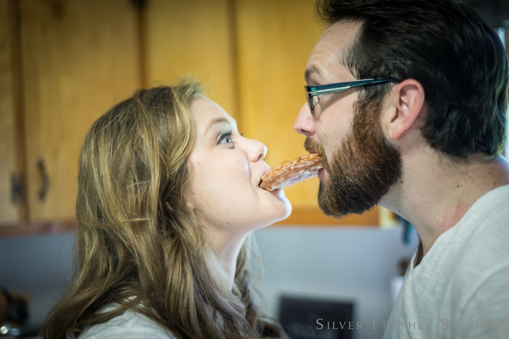 silly faces and donuts | jordan and heather © silver feather studios | lifestyle photography in burlington