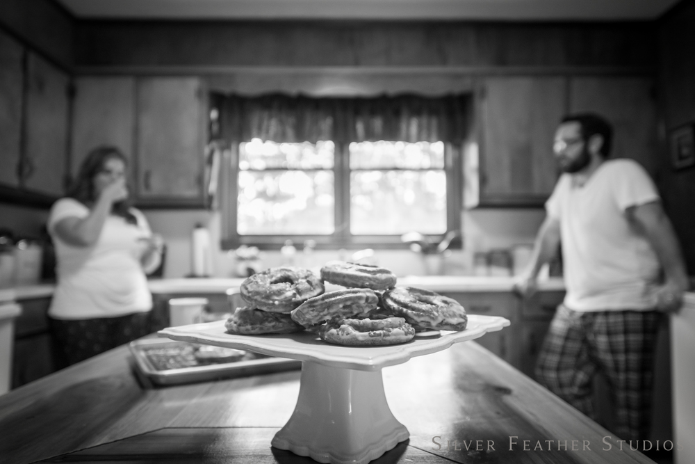 donuts, coffee, and home hugs | jordan and heather © silver feather studios | lifestyle photography in burlington