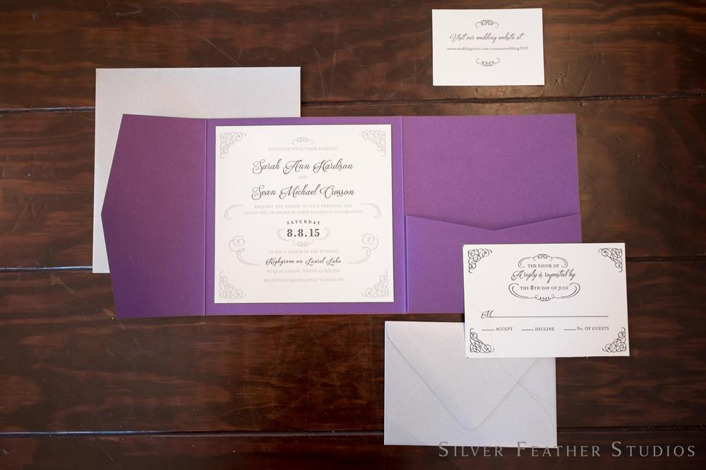 sarah and sean's purple invitation suite. photographed by burlington nc wedding photographer, silver feather studios