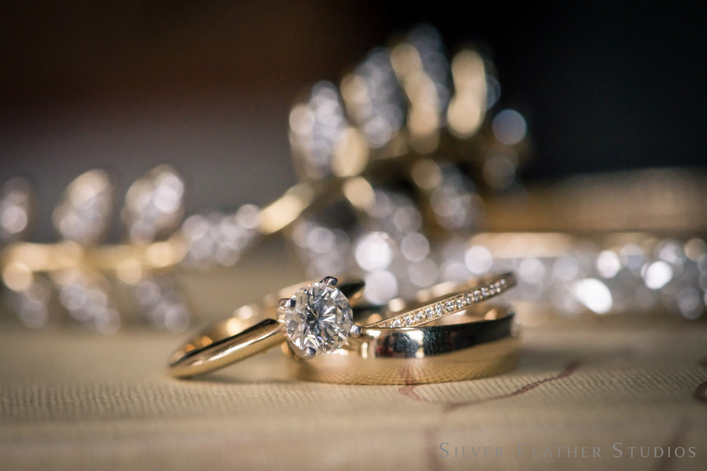 beautiful diamond ring and wedding bands.Burlington, NC wedding photographer, Silver Feather Studios