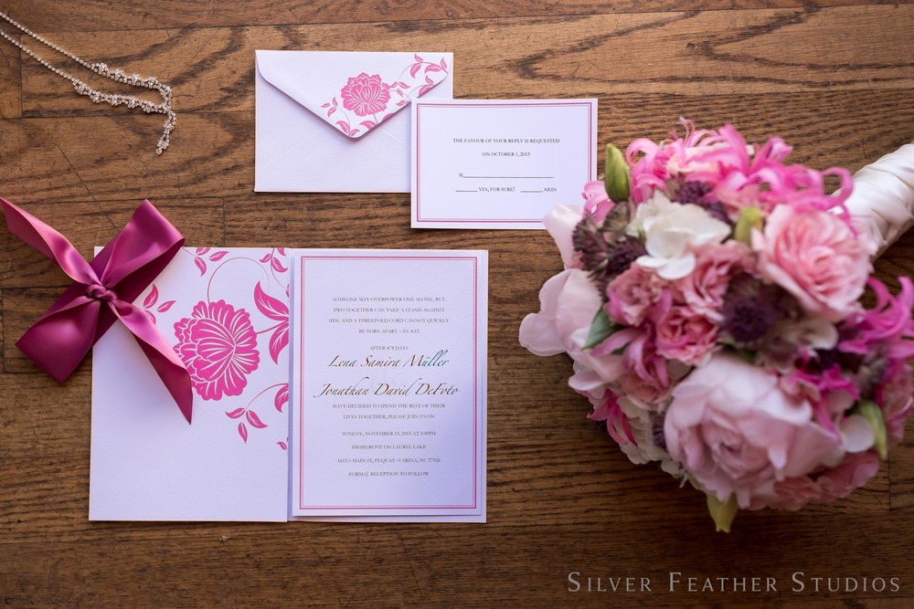 pink and white invitation suite at highgrove estate. © Burlington, NC wedding photographer, Silver Feather Studios