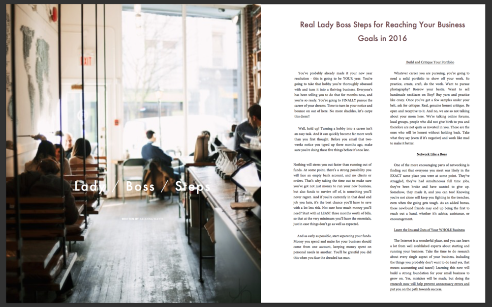 Real Lady Boss Steps to Reaching Your Goals in 2016 | Trend Magazine article by Ariana Watts