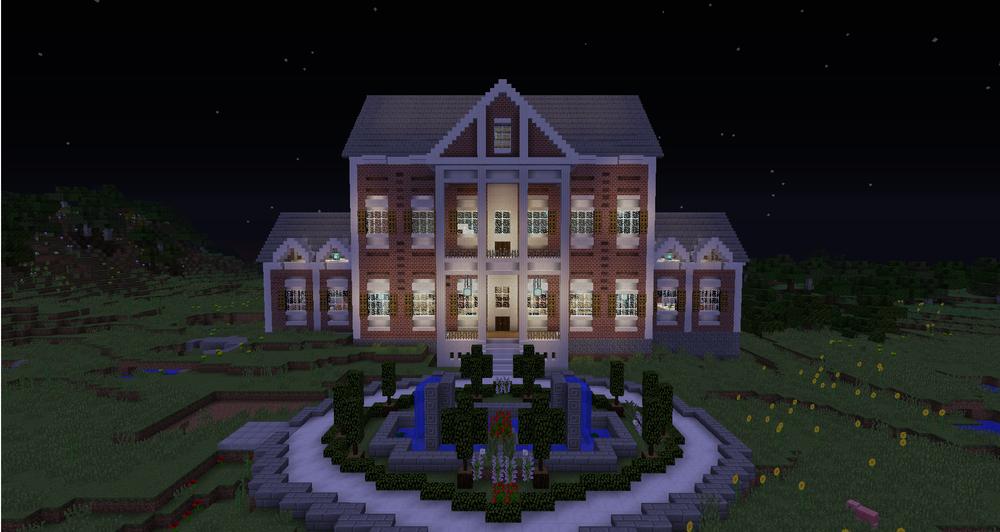 Court house built in Minecraft.