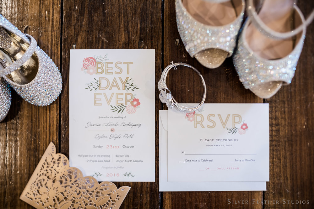 Invitations and sparkly details at a Barclay Villa engagement. © Silver Feather Studios, NC couples & lifestyle photography