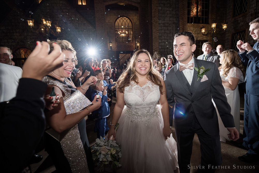 Bubble exit at Barclay Villa by Raleigh wedding photographer, Silver Feather Studios.