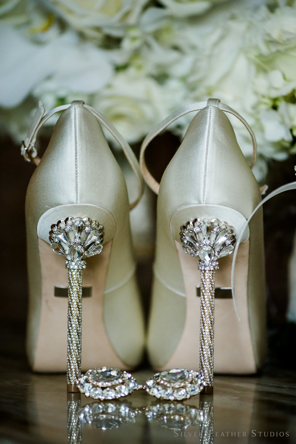 crystal studded ivory heels at shaleea & brandon's greensboro nc wedding. Image by Silver Feather Studios