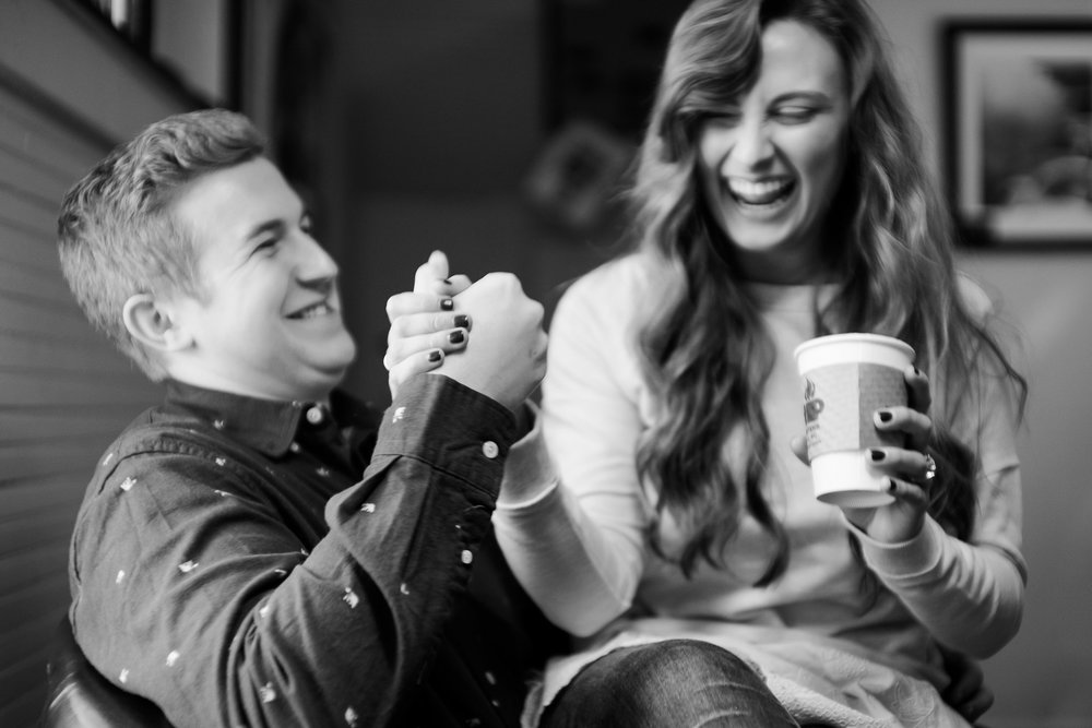 coffee shop engagement photos in blowing rock, nc