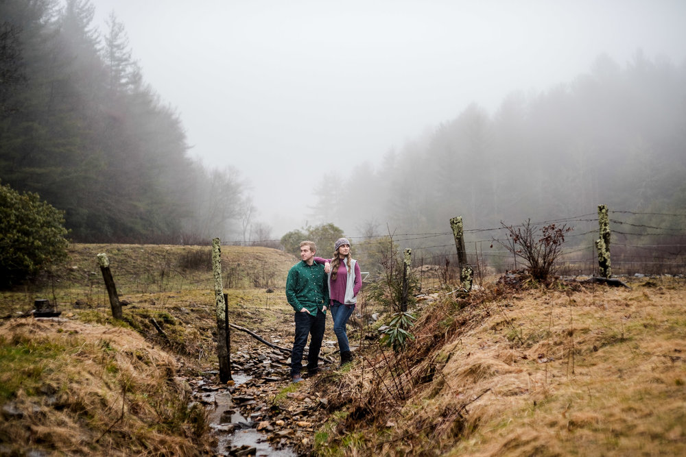 blowing rock engagement session in a foggy park