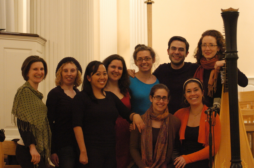 "Etherea and Grace Cloutier after recording Holst's ""Hymns from the Rig Veda"" and ""Two Eastern Pictures"" in Marquand Chapel, Yale Divinity School"