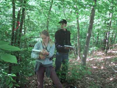 Biologists performing bird point counts at a migratory bird stopover to evaluate the effectiveness of the Greenways for Wildlife.