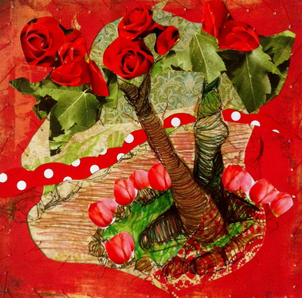 "Red Rose Trail - 12"" x 12"""