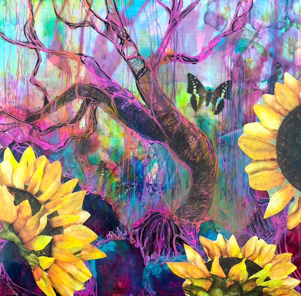 """Psychedelic Sunflower, 16""""x16"""""""