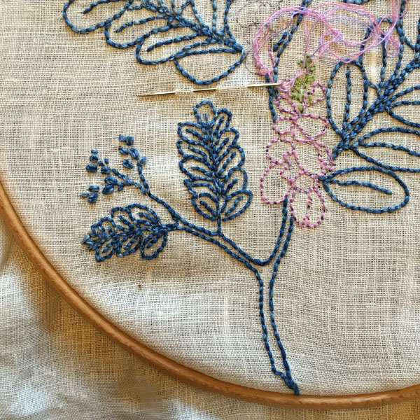 Indigo, backstitched. Would you sew it as a tattoo? Satin stitch? Free-for-all?