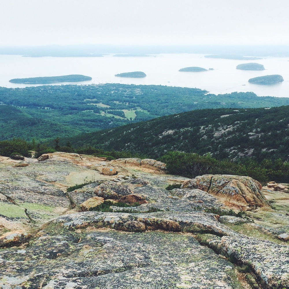 A hazy afternoon on top of Cadillac Mountain, overlooking Bar Harbor.