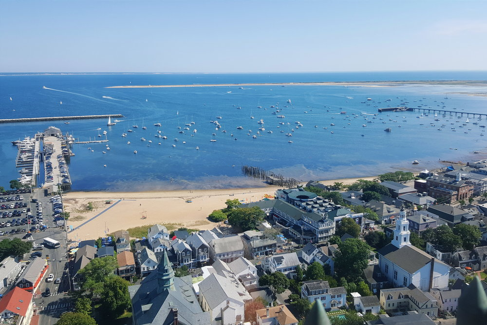 Overlooking Provincetown from 350 feet above sea level, at the top of the Pilgrim Monument.