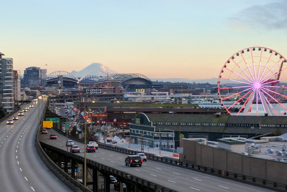 Views of Mount Rainier from Pike Place Market in Seattle.