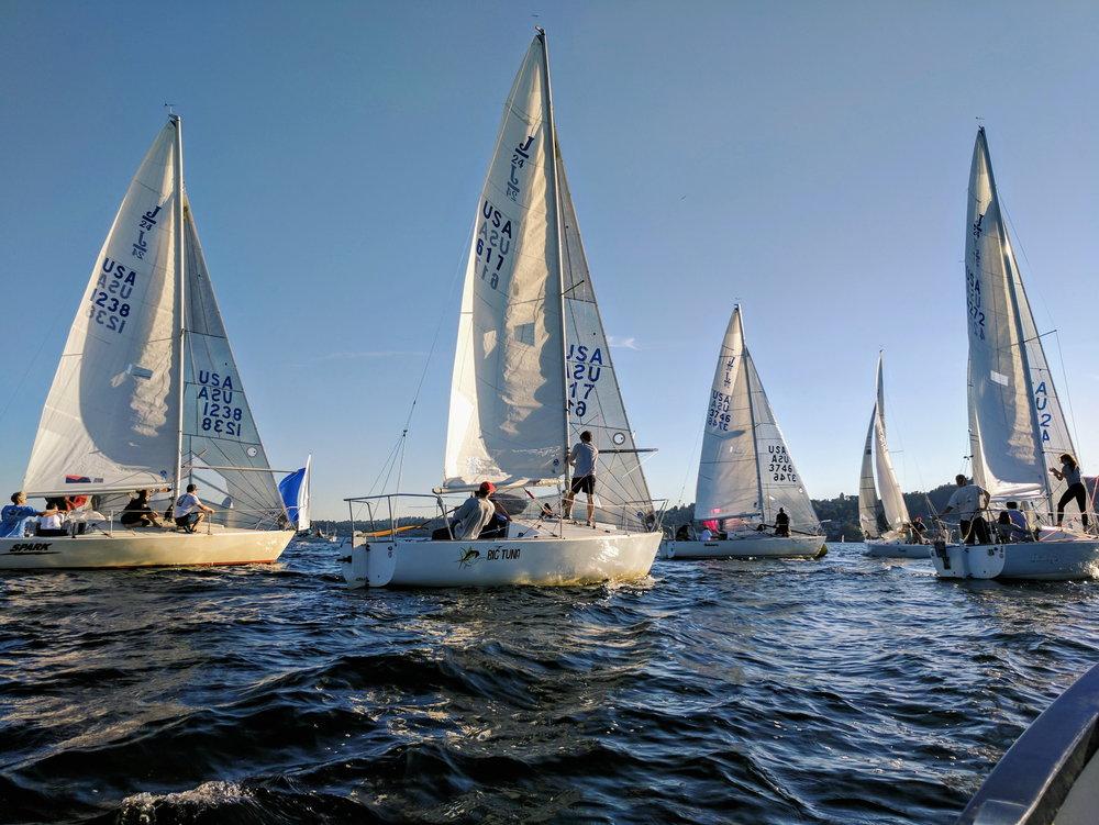 Crashing a weeknight sailing league on Lake Washington.