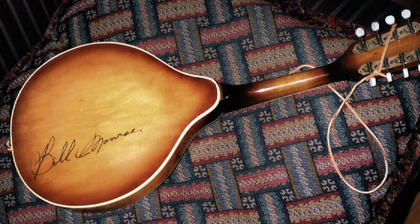 1995 - Jim Storey's mandolin signed by Bill Monroe