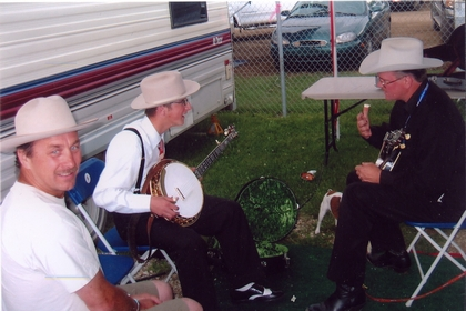 2005 - Ken & Matt Hotte with banjo man from Birch Mountain