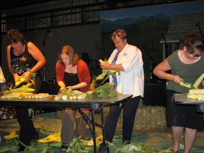 2006 -  Francie shuckin' corn for Blueberry at the Chilliwack Bluegrass Festival