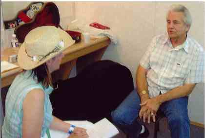 2006 - Sheila Hallett interviewing Del McCoury for the Northern Bluegrass Circle newsletter